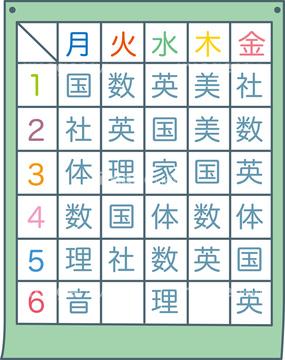 時間割表の写真素材 - imagenavi : 小学校の時間割表 : 小学校