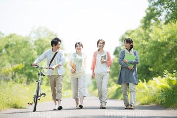 自転車の 男子高校生 通学自転車 : 学生達の後ろ姿(4人)(18360057 ...