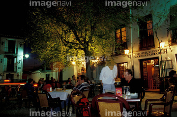 spain andalucia granada diners at night in outdoor cafes of plaza de santa ana moorish albaicin quarter mozeypictures Image collections