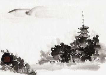 イラスト 水墨画 仏教寺院の画像素材 自然風景イラストcgの