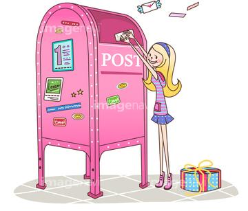 ポスト 郵便ポスト かわいいイラストの画像素材 テーマ