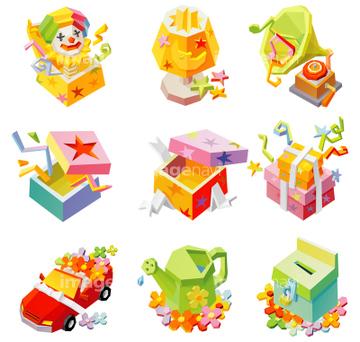 びっくり箱の画像素材 デザインパーツイラストcgの写真素材なら