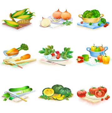 食べ物のイラスト野菜 夏野菜 かご容器 多いの画像素材 食べ物