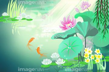 季節のイラスト 夏の風景イラストの画像素材 バック