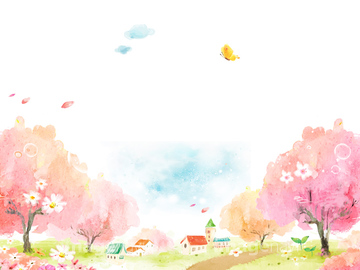 季節のイラスト 春の水彩画イラストの画像素材 花植物