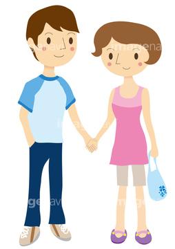 イラストcg 人物 カップル夫婦あつあつ 半袖の画像素材