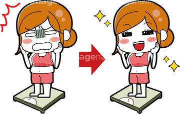 肥満 女の子 笑顔 全身の画像素材 ライフスタイルイラストcgの