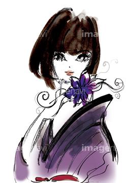 着物 女子 イラスト 黒髪の画像素材 テーマイラストcgのイラスト