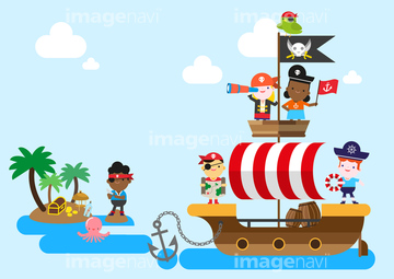 船 イラスト 海賊船の画像素材 自然風景イラストcgのイラスト
