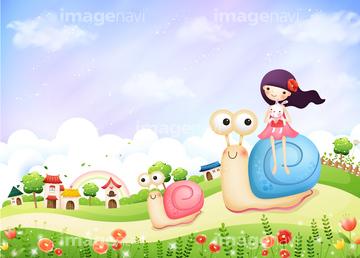 花畑 イラスト かわいい 虹天気の画像素材 自然風景イラスト