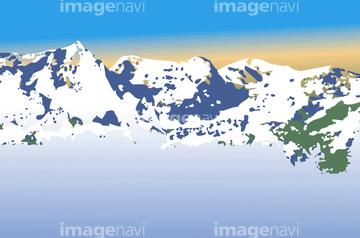 雪山 ヨーロッパイラストの画像素材 自然風景イラストcgの