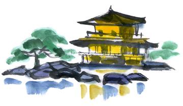 京都 イラスト 京都市 北区京都市の画像素材 自然風景