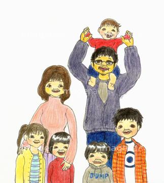 7人家族の画像素材 人物イラストcgの写真素材ならイメージナビ