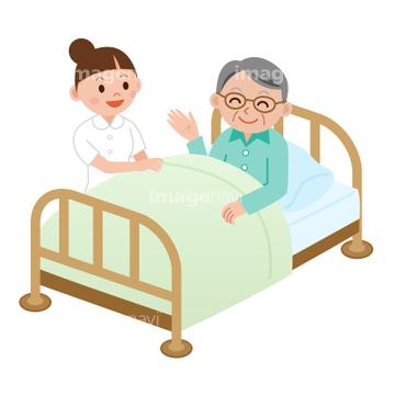 医療福祉向け イラスト患者ベッドロイヤリティフリー
