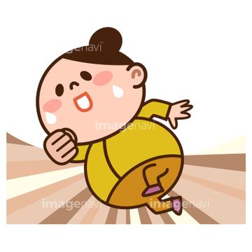 女性 太った 日本人 走る動作の画像素材 ライフスタイルイラスト