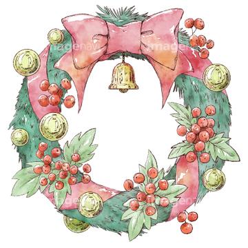 クリスマスリースの画像素材 クリスマス行事祝い事の写真素材