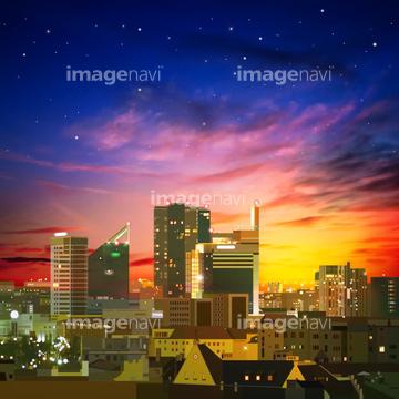 ビル街 イラスト 綺麗 早朝 ロイヤリティフリー の画像素材 自然 風景 イラスト Cgのイラスト素材ならイメージナビ