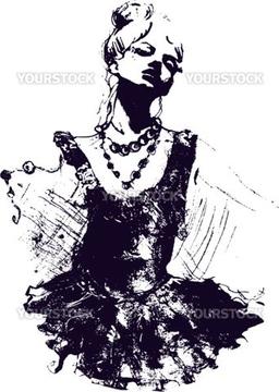 女性 横顔 イラスト 綺麗 踊るの画像素材 ビジネスイラストcgの