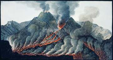 流れる 溶岩流イラストの画像素材 自然風景イラストcgの