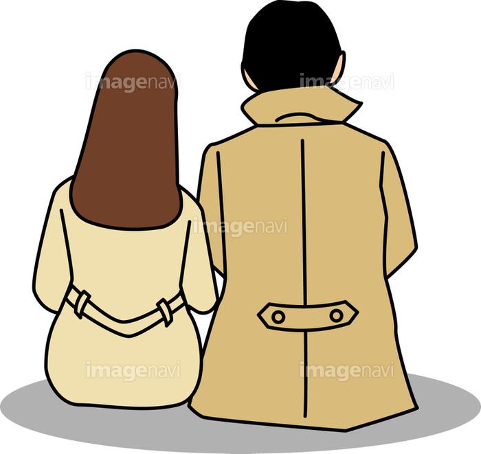 コートを着て座るカップルの後ろ姿 の画像素材 イラスト素材ならイメージナビ