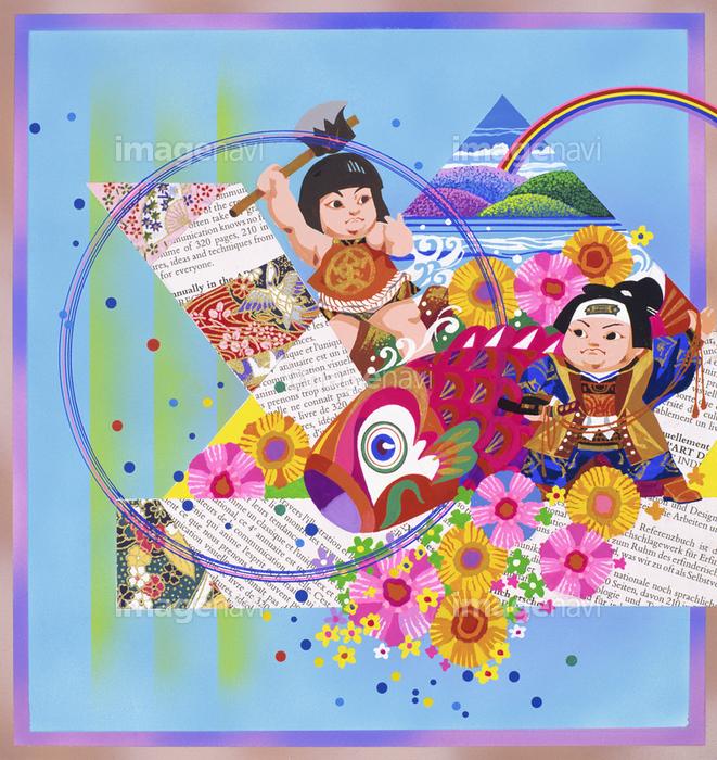 鯉のぼり 五月人形 虹 金太郎 習俗 行事 和風 ポップの画像素材