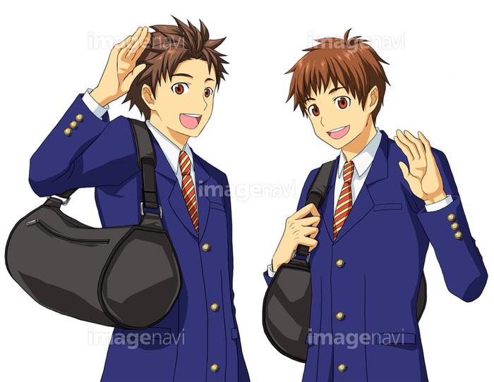 男子高校生二人組 バストアップ図 の画像素材 イラスト素材ならイメージナビ
