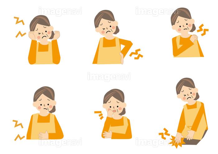 中年女性 腰痛 肩こり 腹痛 頭痛の画像素材10146897 イラスト素材