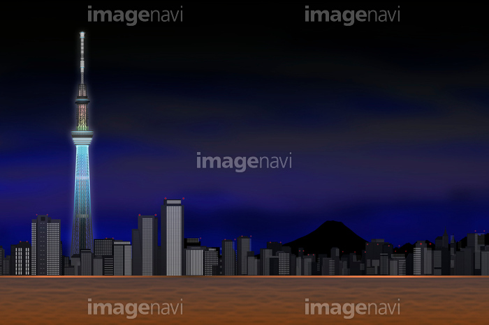 夜景の東京スカイツリーとビル群 イラストの画像素材11612675