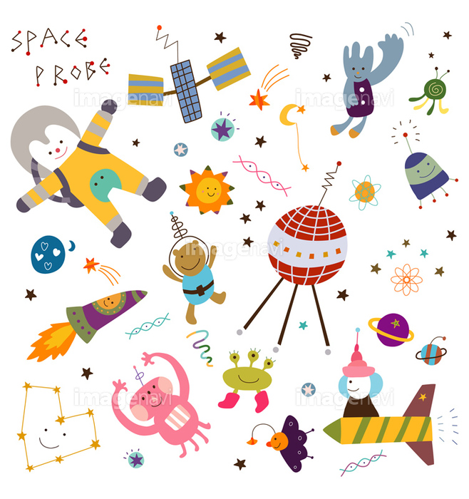 宇宙飛行士 星空 ロケット 宇宙人 宇宙 セット かわいい 未来的の画像