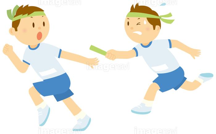 リレーのバトンパスを受ける男子中学生の画像素材14404756