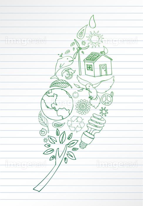 樹木 葉 鉛筆 地球 環境問題 手書き 緑色 の画像素材 イラスト素材ならイメージナビ