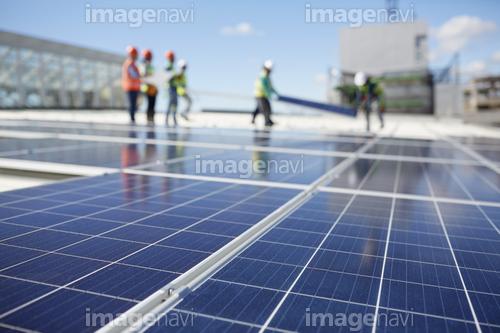 Solar panels at sunny power plant