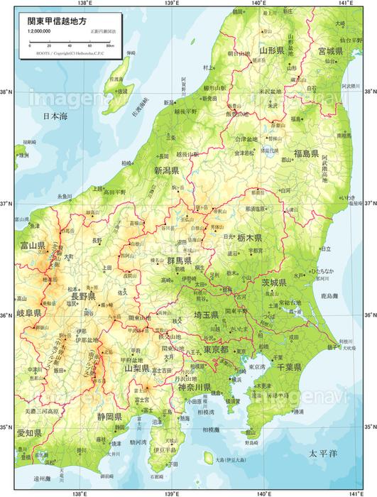 関東甲信越地方_自然図】の画像素材(19601312)   地図素材ならイメージナビ