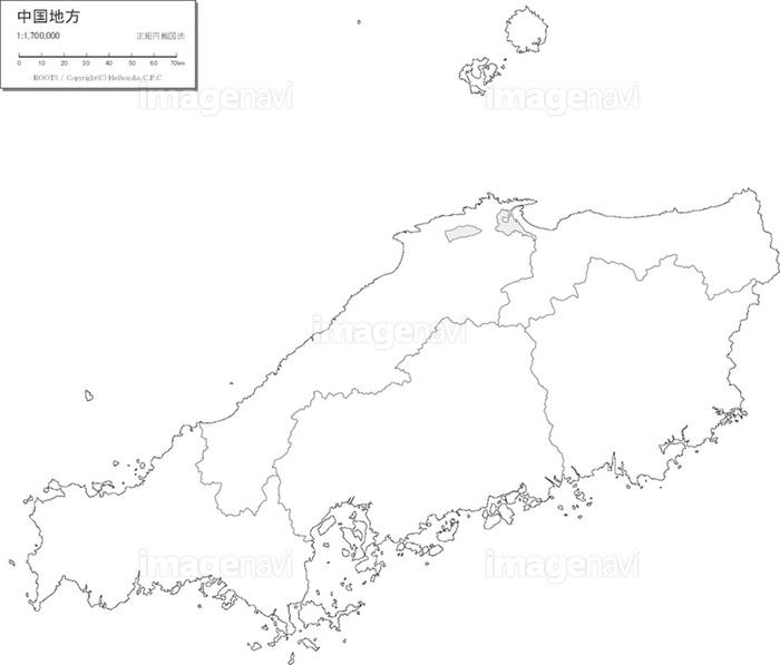「中国地方 白地図」の画像検索結果