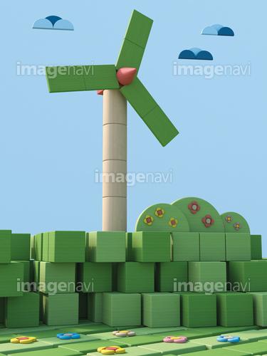 3D Rendering, Wind wheels, Wind park from toy blocks