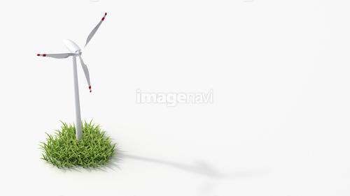 Wind turbine on grass, 3D Rendering