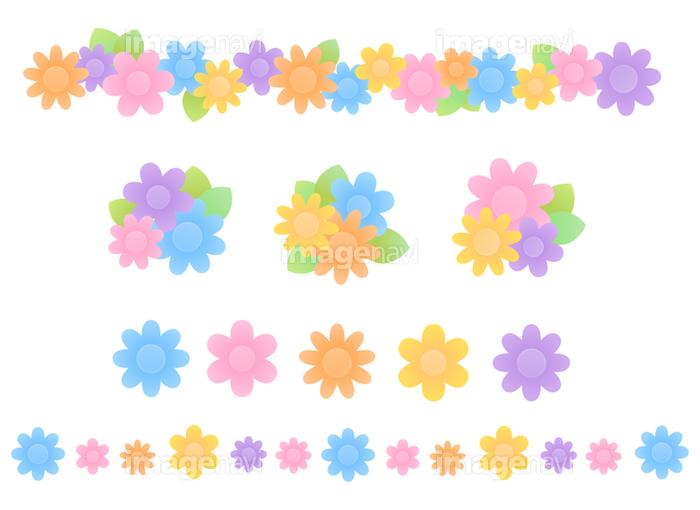カラフルな花のアイコンラインセットの画像素材31017764