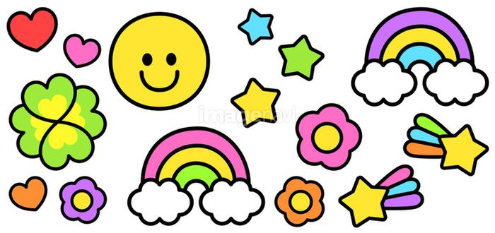 スマイル虹クローバーなどのポップなクリップアート セットの画像