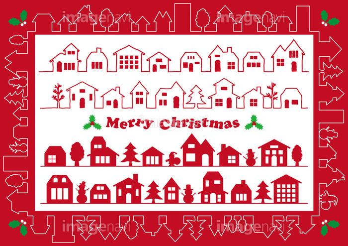 クリスマスの街並み ラインとフレーム素材セットの画像素材31052813