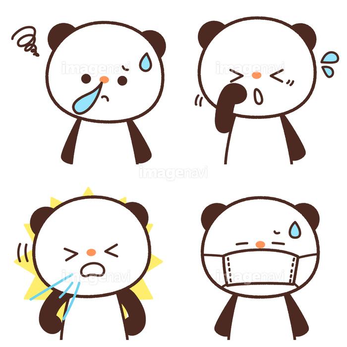 花粉症の症状鼻水くしゃみ目のかゆみマスクをかけるのパンダ