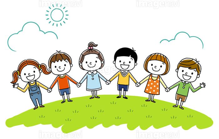 子供たち みんなで手をつなぐ の画像素材 イラスト素材ならイメージナビ