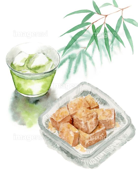 わらびもちと冷たい緑茶と笹の葉 の画像素材 イラスト素材ならイメージナビ
