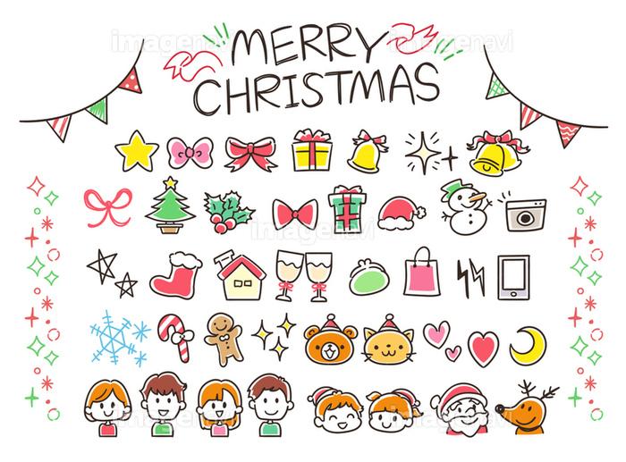 クリスマスのガーリーな手描き風アイコンセットカラフルの画像素材