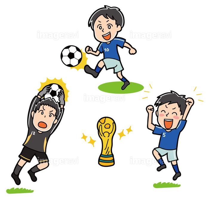 ワールドカップのイメージイラストサッカー選手とトロフィーの画像