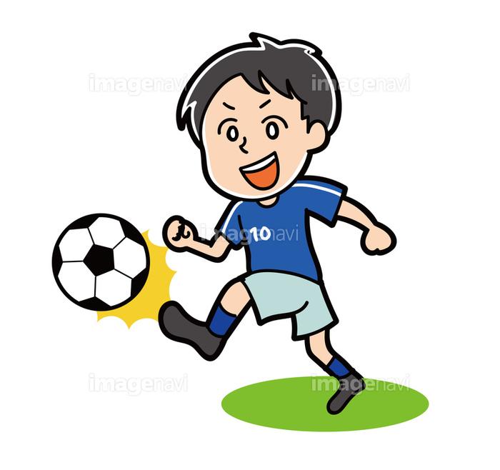 ドリブルをするサッカー選手のイラスト素材の画像素材31278428
