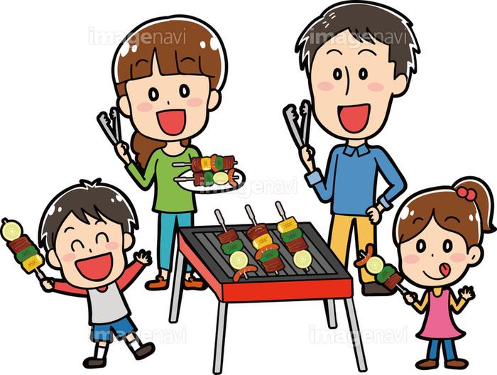 バーベキューをする家族のイラスト素材セットの画像素材31291420