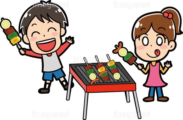 バーベキューをする子供たちのイラスト素材の画像素材31291422