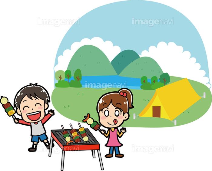 キャンプ場でバーベキューをする子供たちのイラスト素材の画像素材