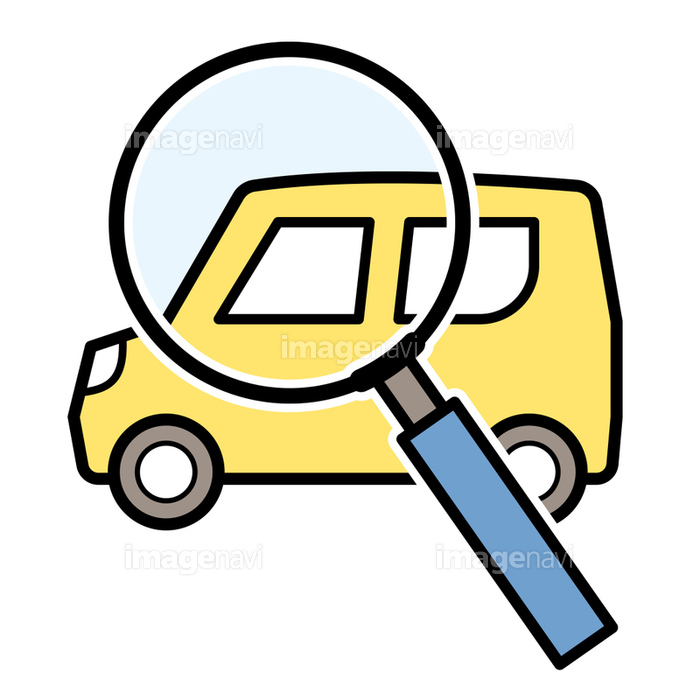軽自動車の査定調査のアイコンイラスト軽自動車と虫眼鏡の画像素材
