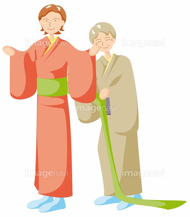 着物の着付けをする女性の画像素材32030792 イラスト素材なら